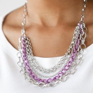 Silver & Purple Chain Necklace